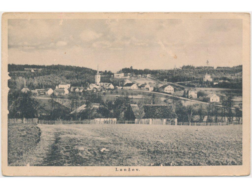 66 - Trutnovsko, Lanžov, celkový pohled na obec, cca 1918