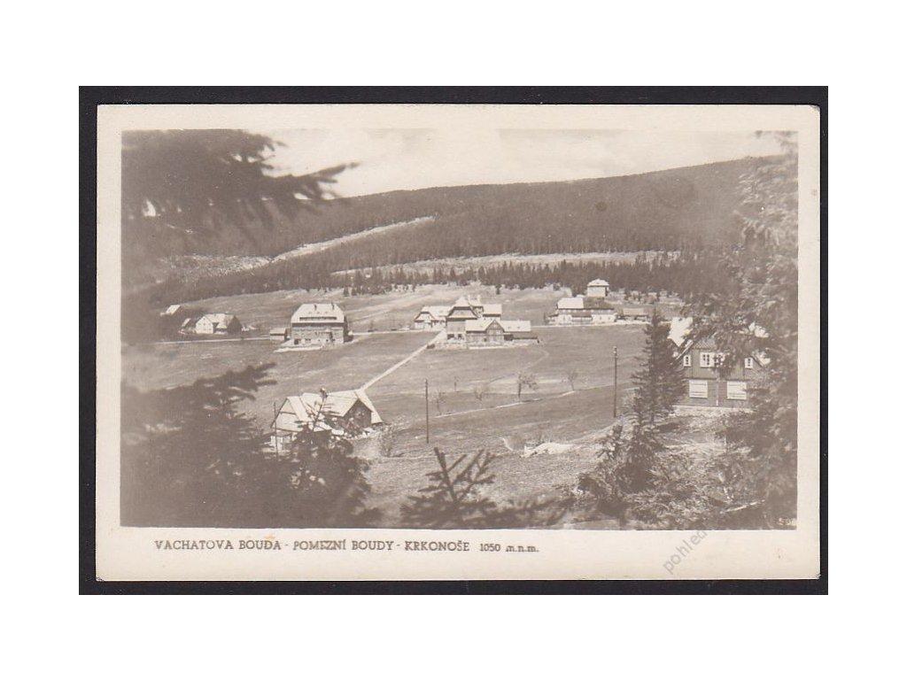 66 - Trutnovsko, Krkonoše, pomezní boudy, Vachatova bouda, foto Fon, cca 1936