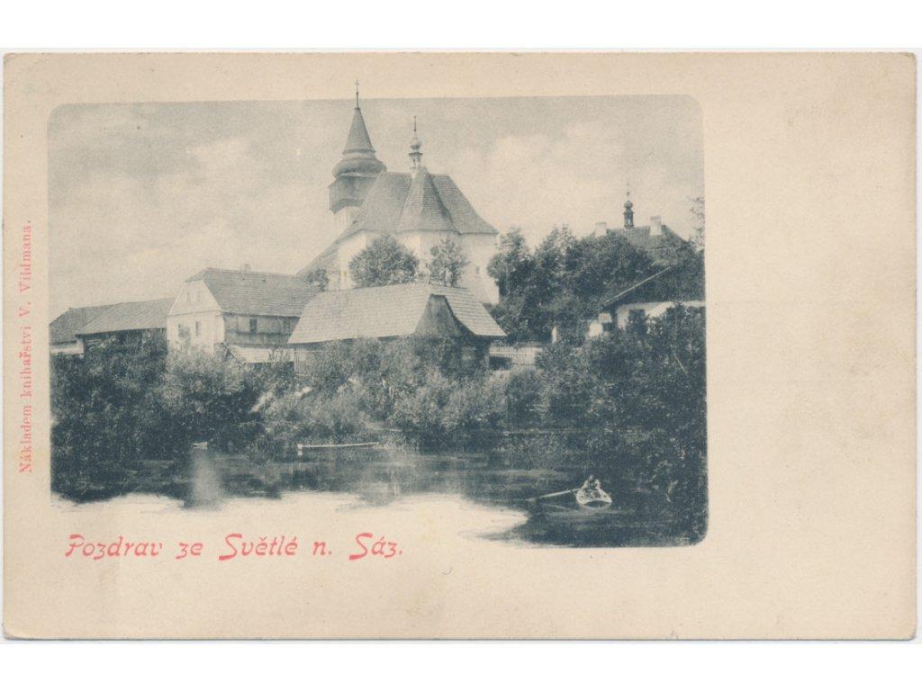 17 - Havlíčkobrodsko, Světlá nad Sázavou, partie u zámku, loďka...