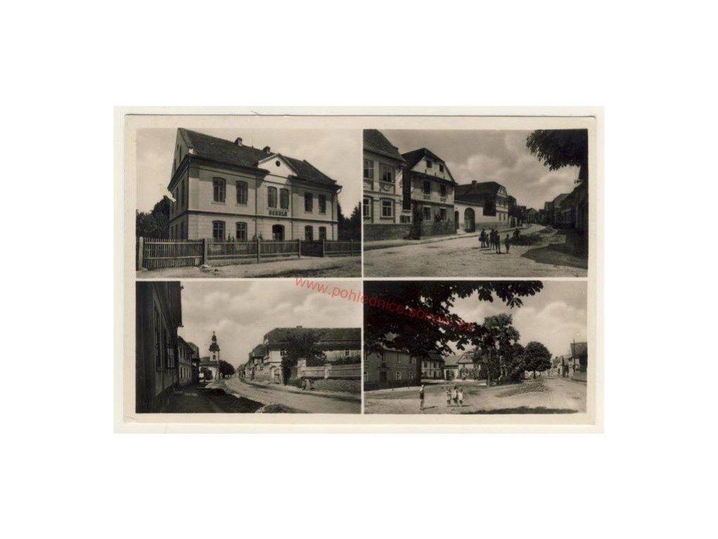 33 - Litoměřicko, Vrutice, Sudety, 4 - záběr, škola, náměstí,ca 1935