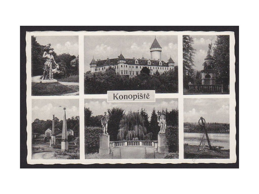 01 - Benešovsko, zámek Konopiště, části zámku, nakl. A.K.V., cca 1947