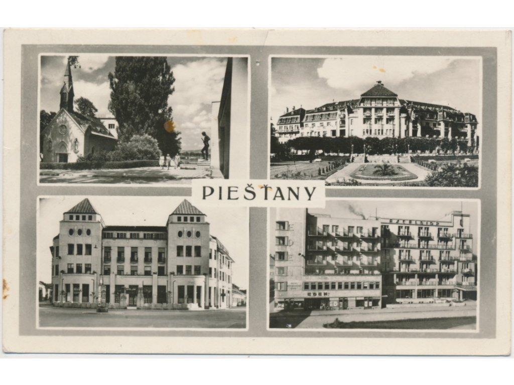 Slovensko, Piešťany, 4 - záběr dominant lázeňského města, cca 1950