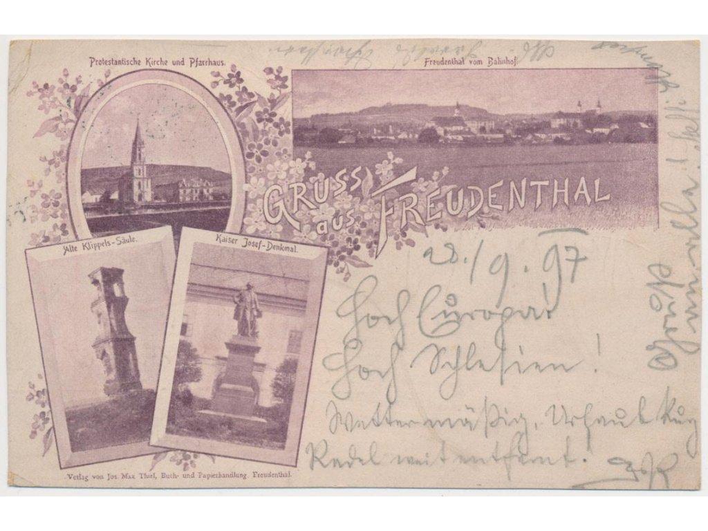 06 - Bruntál, 4 - záběrová koláž, pohled na město, kostel..., cca 1897