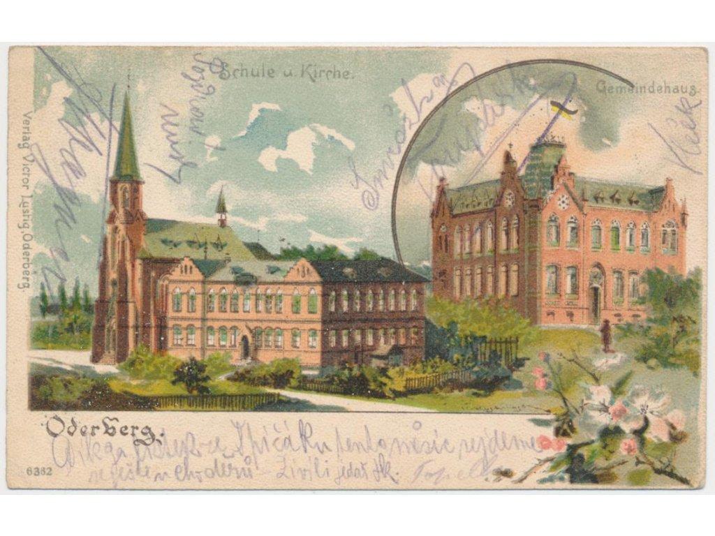 26 - Karvinsko, Bohumín, 2-záběrová litografie dominant města,ca 1900
