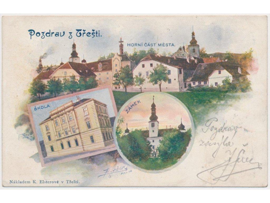 23 - Jihlavsko, Třešť, 3 - záběrová koláž, škola, zámek, město, 1912