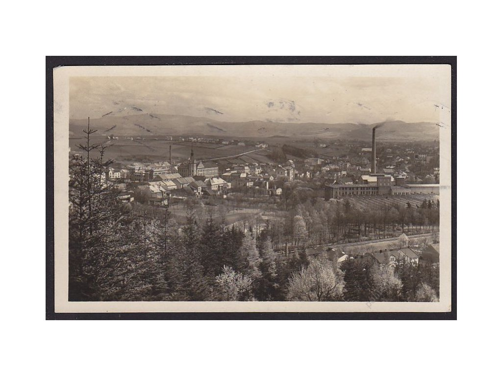 38 - Náchodsko, Hronov, celkový pohled, nakl. Špáta, cca 1933