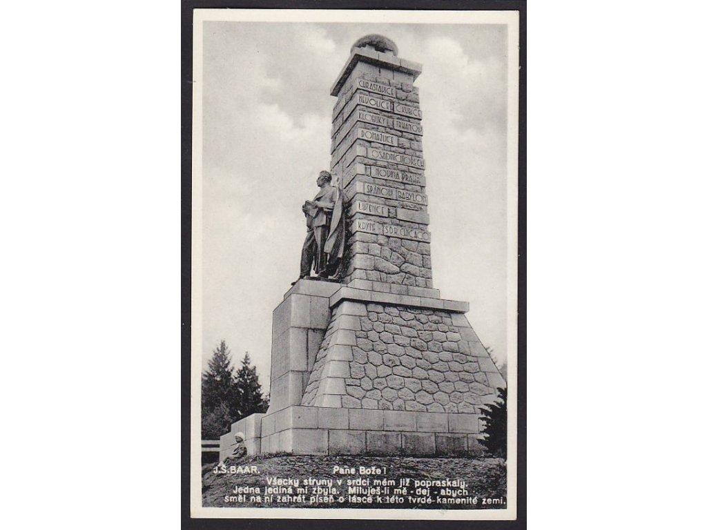 15 - Domažlicko, Chodsko, pomník J. Š. Baara na Výhledech, nakl. Rybařík, cca 1933