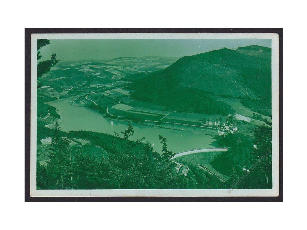 71 - Vsetínsko, údolní přehrada na Bystřičce, grafo Čuda, nakl. Tůma, cca 1940