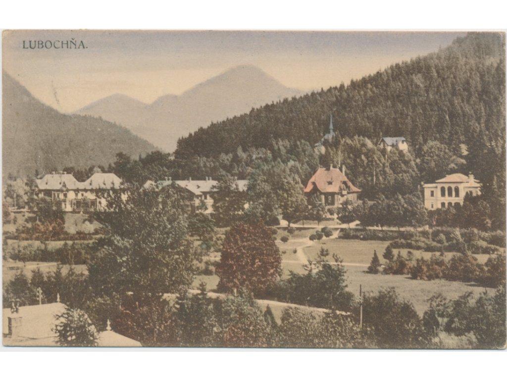 Slovensko, Ľubochňa, pohled na obec, cca 1926