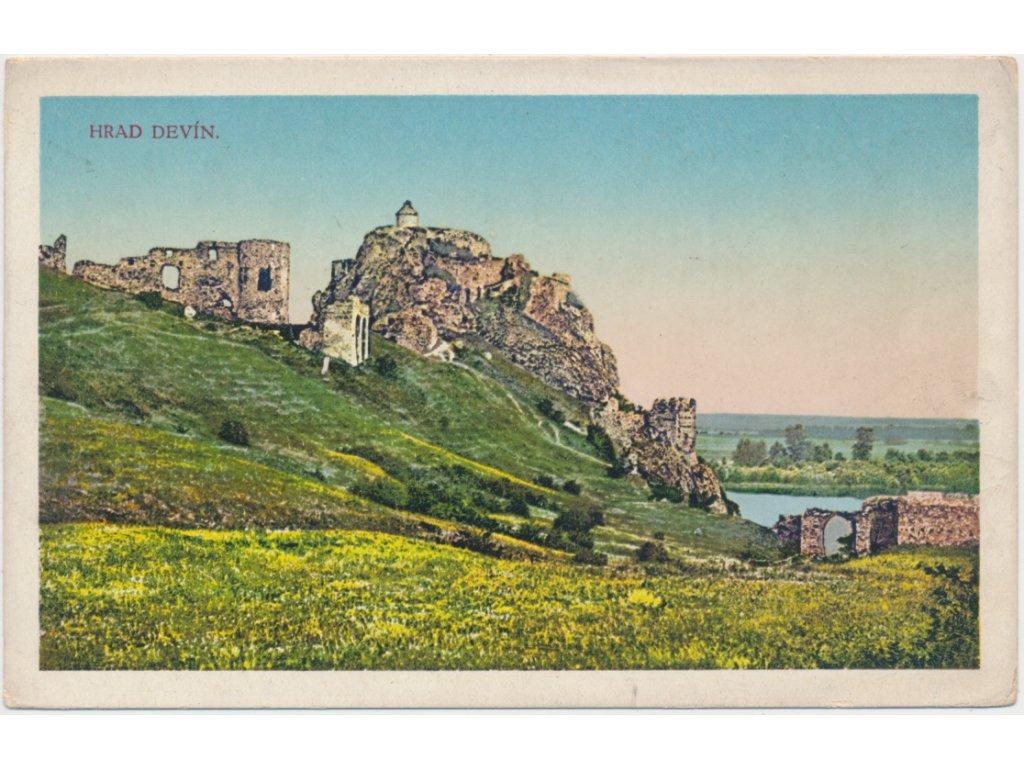 Slovensko, Hrad Devín, pohled na národní památku, cca 1926