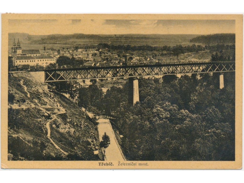 67 - Třebíč, železniční most, pohled na město, cca 1925