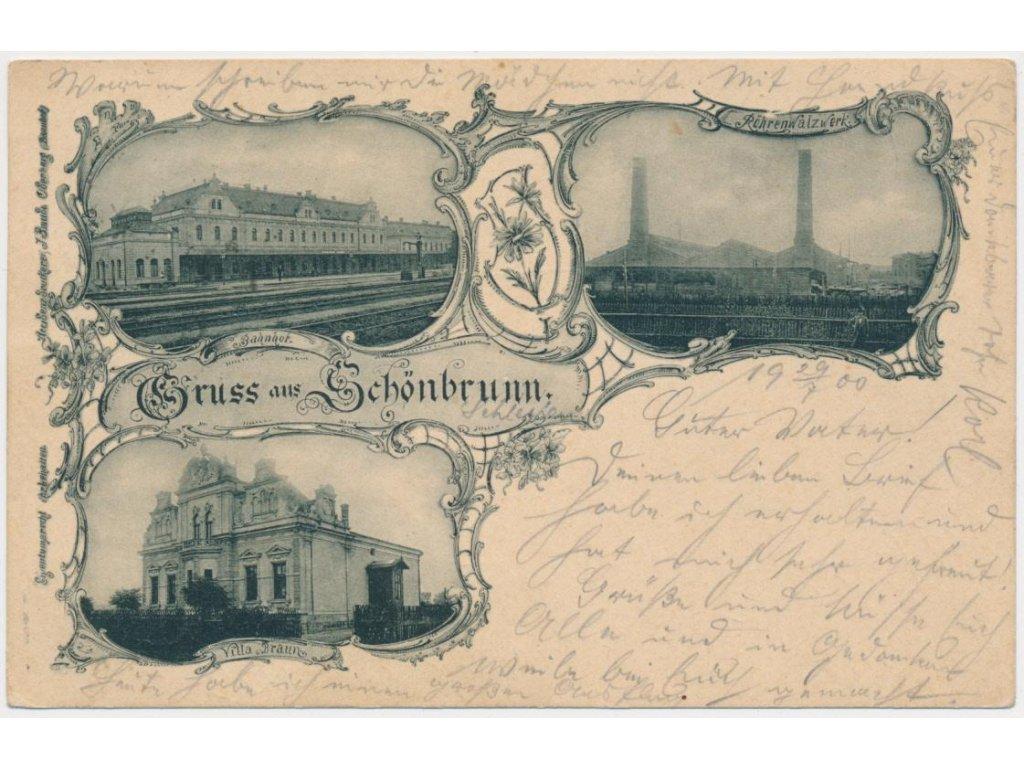Rakousko, Schönbrunn, 3 - záběr, Bahnhof, Röhrenwalzwerk..., cca 1900