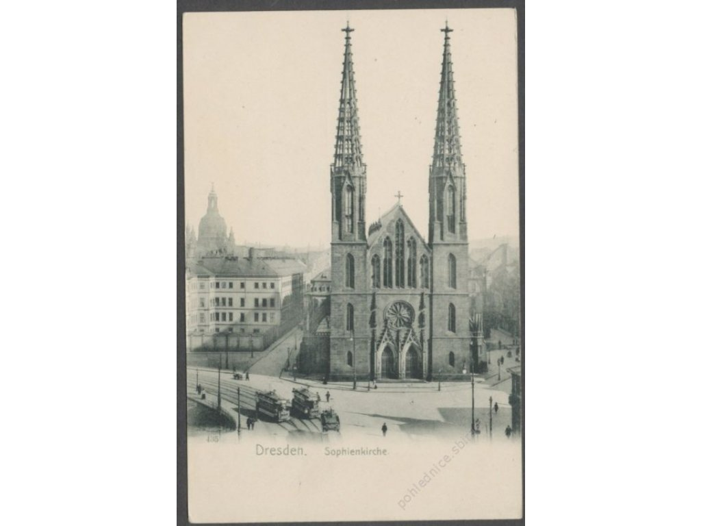 Germany, Free state of Saxony, Dresden, Saint Sophia&apos!s Church with tram, cca 1906