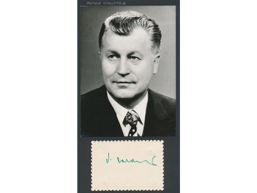 Colotka Peter (1925-2019), slovenský politik, předseda vlády, foto+podpis