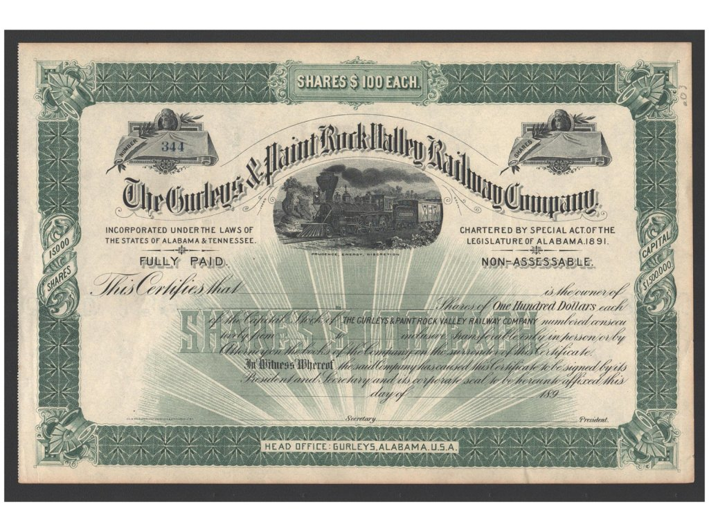 Alabama, Gurleys, akcie $100 - železnice, 1891