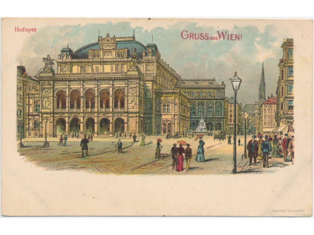 Rakousko, Wien, oživená ulice před Vídeňskou státní operou, cca 1900