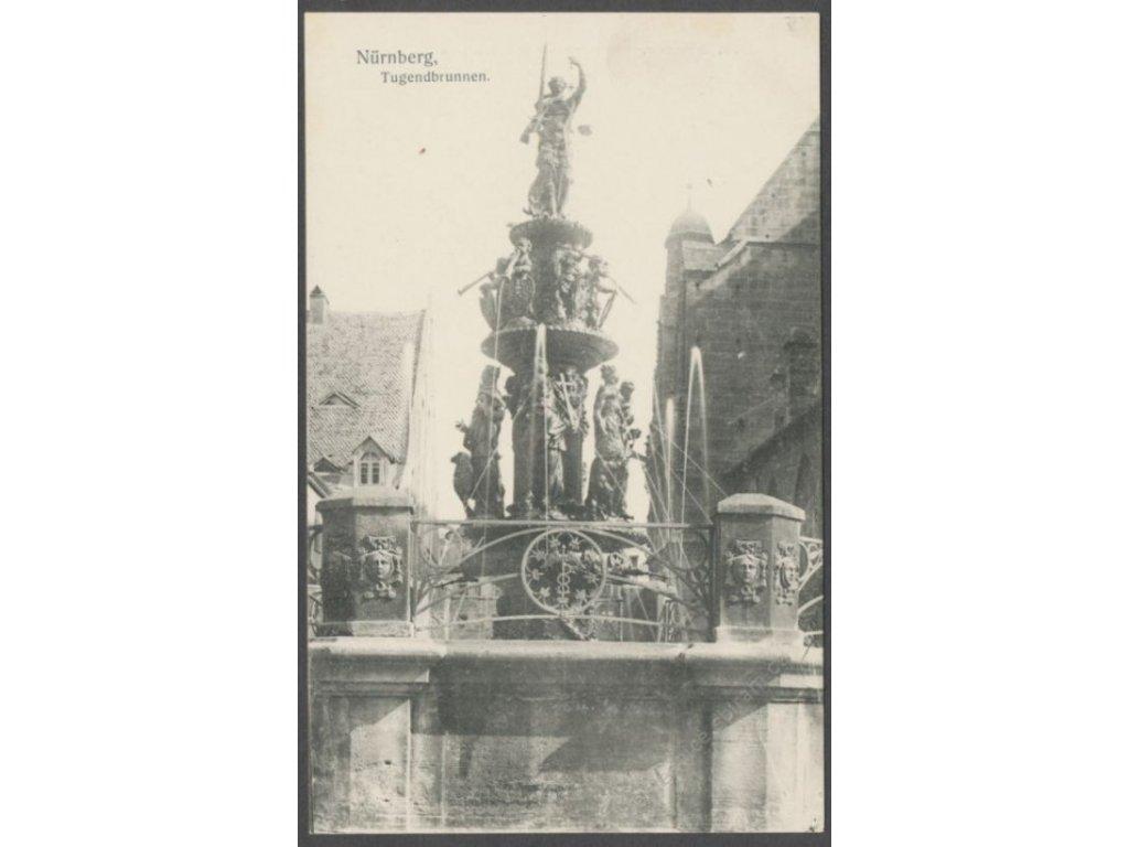 Germany, Bavaria, Middle Franconia, Nuremberg (Nürnberg), fountain (Tugenbrunnen), cca 1906