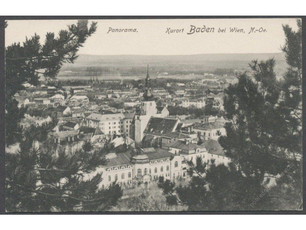 Austria, Lower Austria, Baden district, Baden, spa, panorama, publ. Ledermann, cca 1910