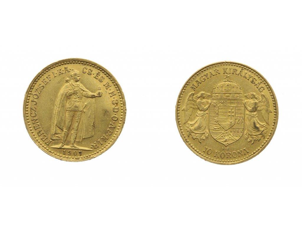 f josef i 10 korun 1907 k b au 0 900 vaha 3 387 gramu 102105002