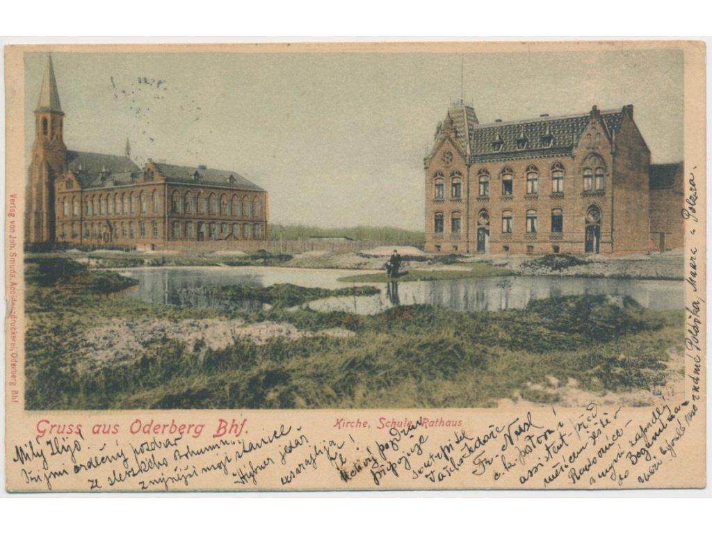 26 - Karvinsko, Bohumín, oživená partie u kostela, školy, radnice,1899