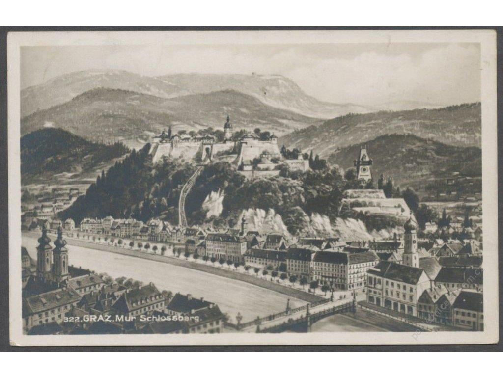 Austria, Graz, river and Schlossberg, publ. Fischer, cca 1920