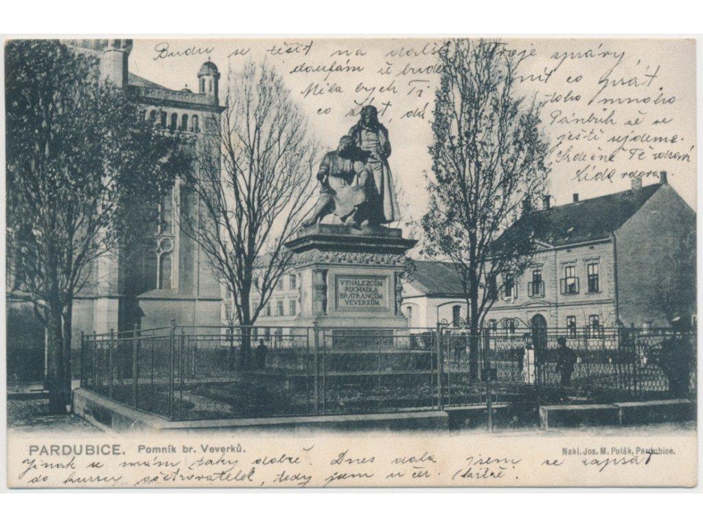 44 - Pardubice, pomník br. Veverků - vynálezci ruchadla, cca 1914