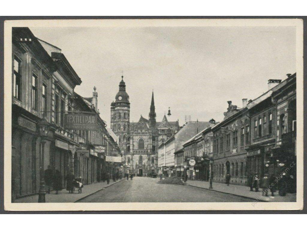 Slovensko, Košice, Šrobárova ulica a Dóm, cca 1936