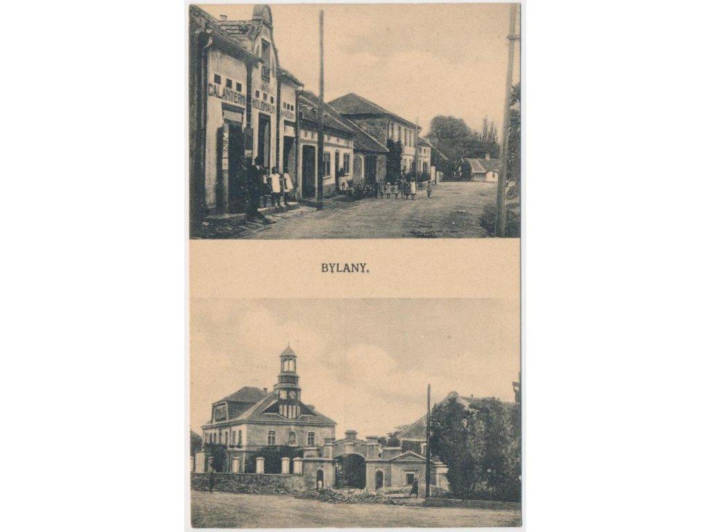 29 - Kolínsko, Bylany, 2 - záběr dominant obce, oživená ulice, ca 1925