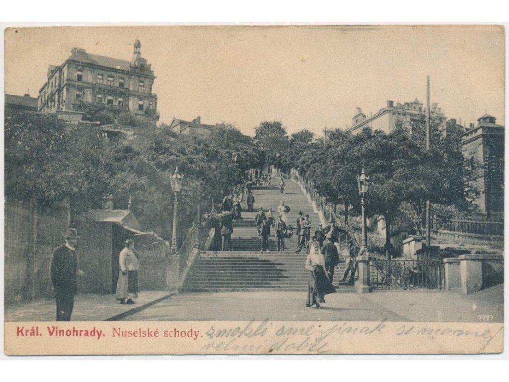 """49 - Praha, oživená partie z """"Nuselských schodů"""", cca 1905"""