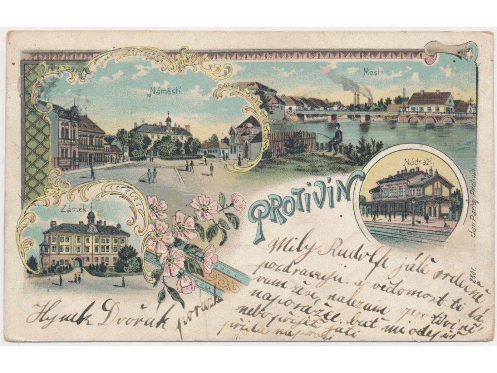 46 - Písecko, Protivín, 4 - záběrová litografie, nádraží, zámek..,1902