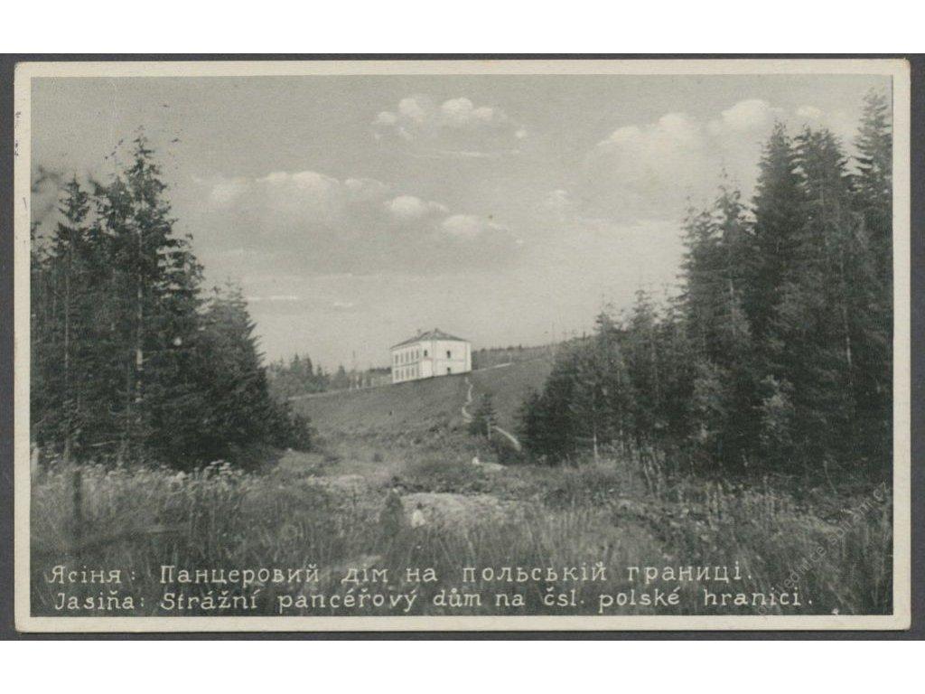Ukraine, Zakarpattia Oblast, Yasinia, guard house on borders, publ. Galac, cca 1934