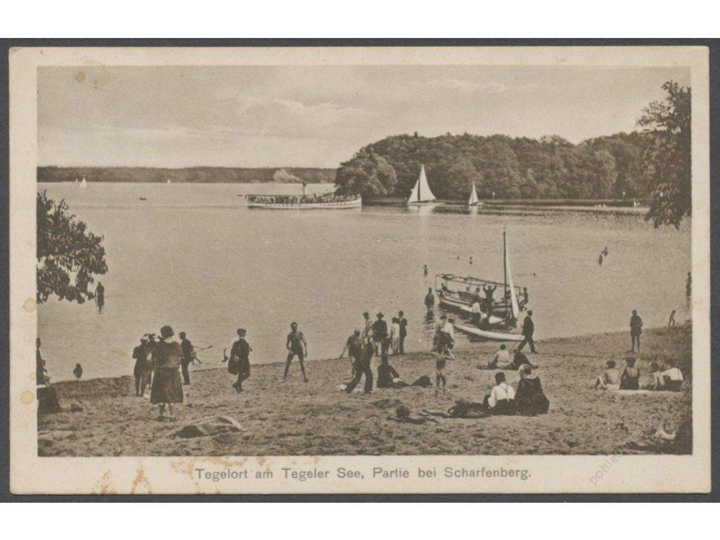 Germany, Reinickendorf, island Schafenberg, Tegel with Lake Tegel, publ. O&apos!Brien, cca 1940