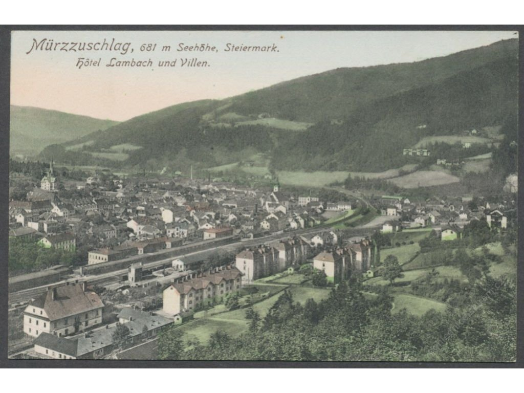 Austria, Styria, Mürzzuschlag, overview with hotel Lambach and villas, cca 1909