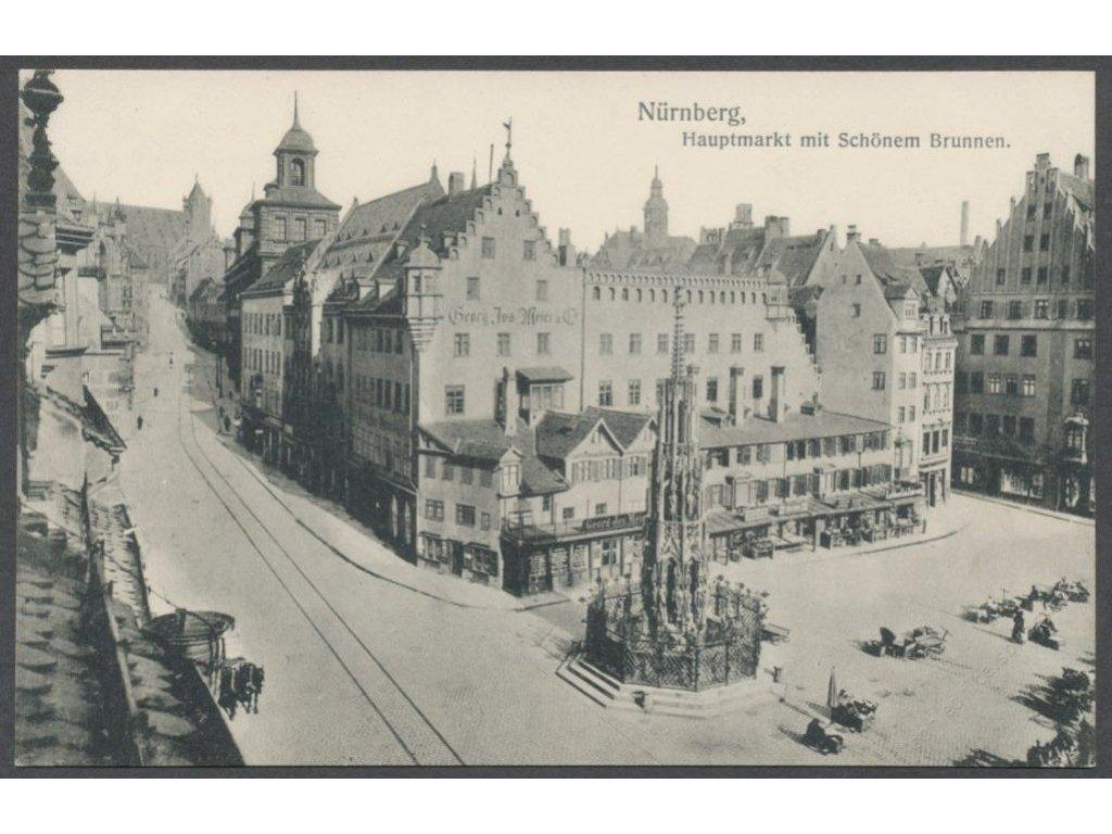 Germany, Bavaria, Nuremberg (Nürnberg), Main square with Schöner Brunnen, cca 1908