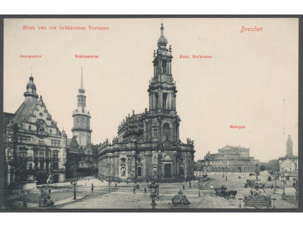 Germany, Dresden, view from Brühls Terrace, The Catholic Church etc., publ. Engler,cca 1908