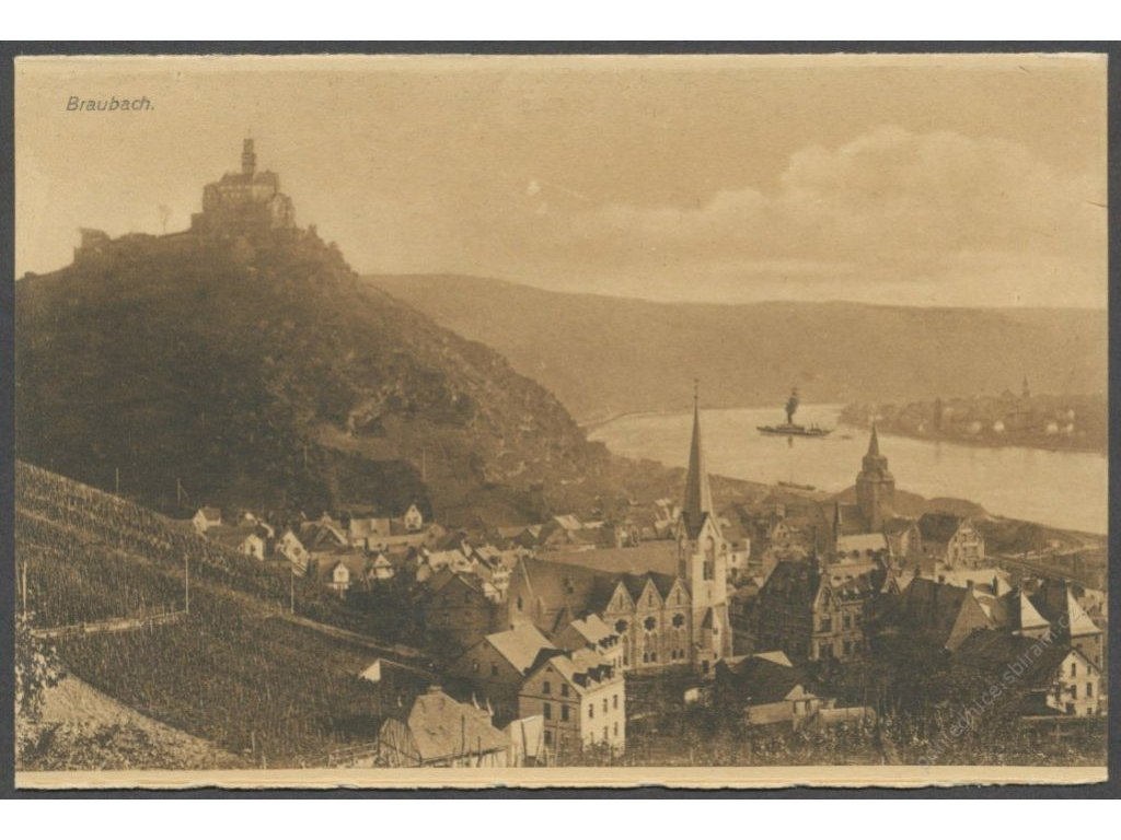 Germany, Braubach, overview with Marksburg and church, publ. Metz & Lautz, cca 1910