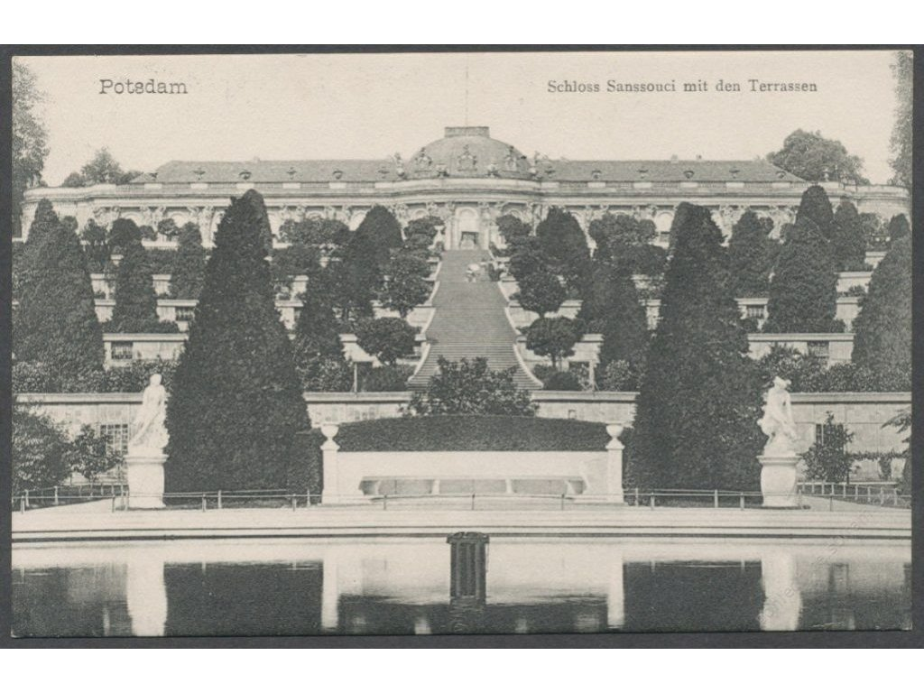 Germany, Brandenburg, Potsdam, Sanssouci palacw with terraced hill, publ. Hügel, cca 1908