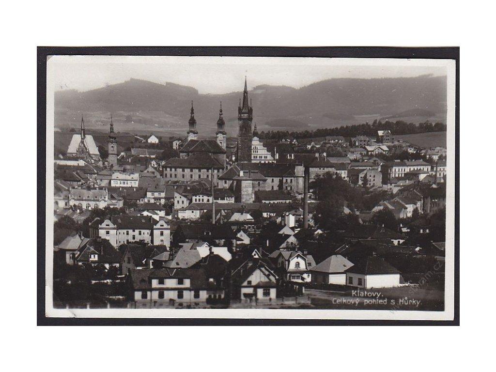 28 - Šumava, Klatovy, celkový pohled s Hůrky, cca 1936