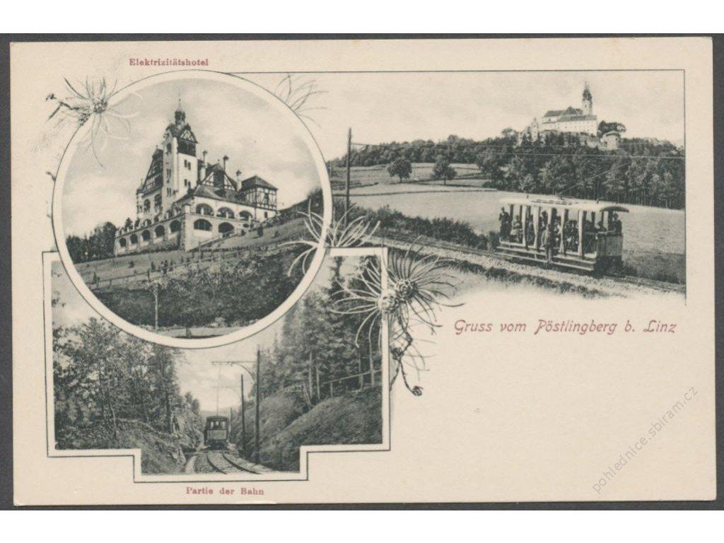 Austria, Upper Austria, Linz, Pöstlingberg, hotel, church and train, publ. Schleich,cca 1908