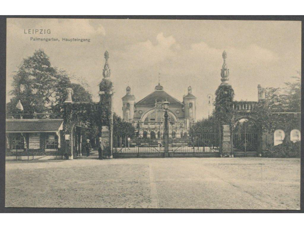 Germany, Leipzig, palm garden, main entrance, publ. Trenkler, cca 1906