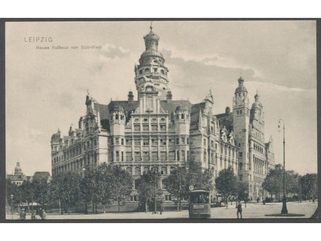 Germany, Saxony, Leipzig, New town hall from south-west side, publ. Trinks, cca 1906