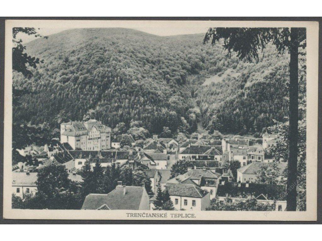 Slovensko, Trenčianske Teplice, nad střechami, nakl. Žalčík a Ondreička, cca 1928