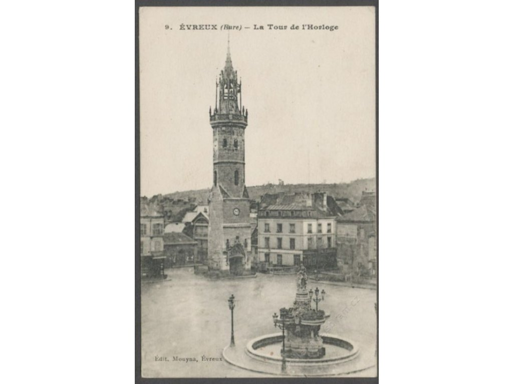 France, Eure department, Évreux, the clock tower on square, publ. Mouyna, cca 1915
