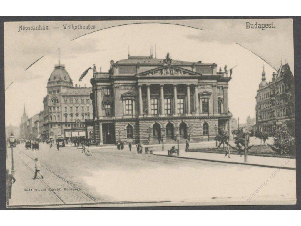Hungary, Budapest, theatre and tram line, cca 1898