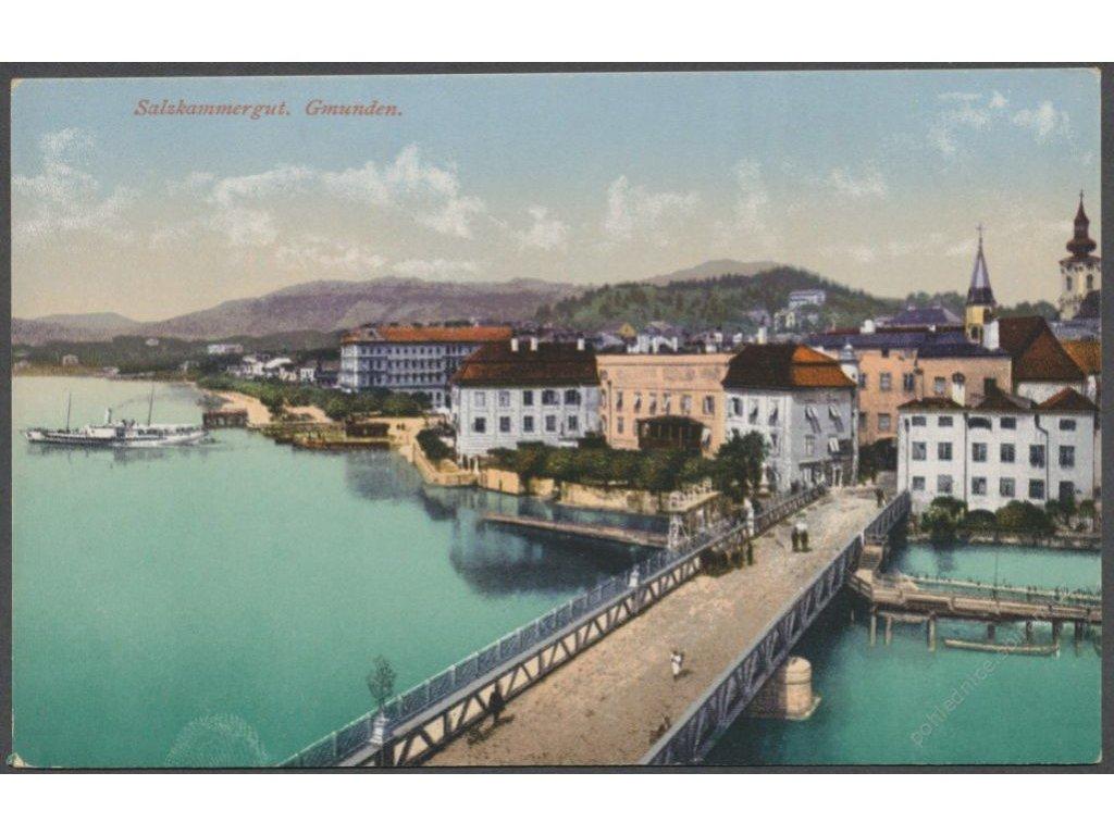 Austria, Salzkammergut, Gmunden, bridge and river, publ. Brandt, cca 1921