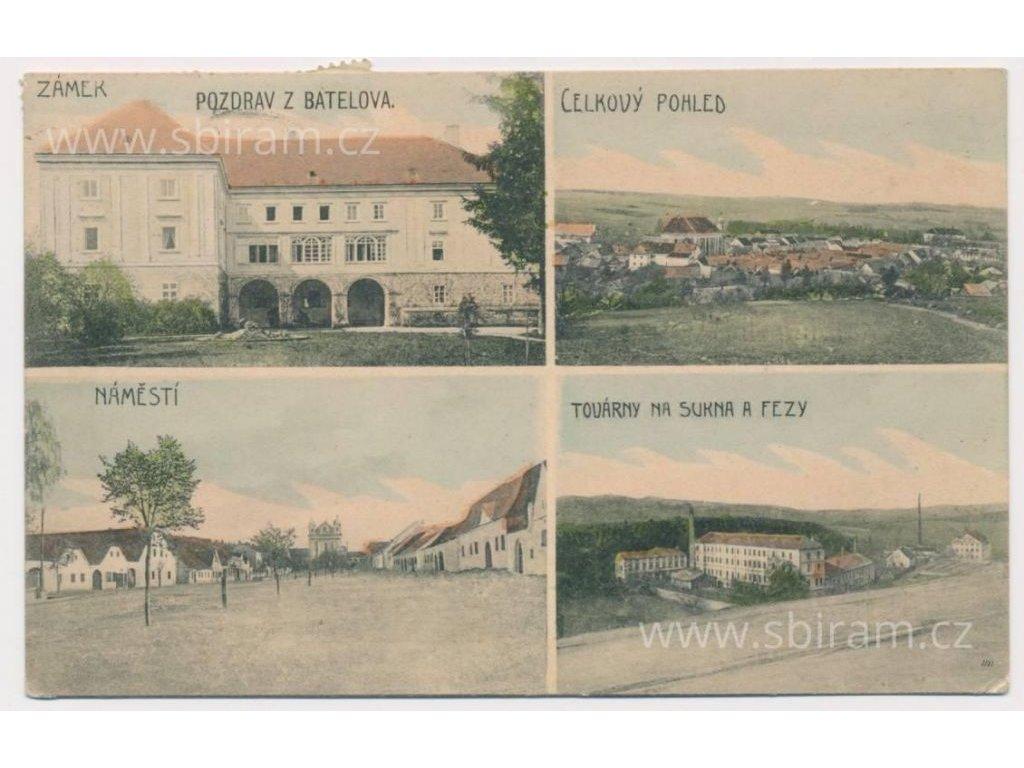 23 - Jihlavsko, Batelov, 4 - záběr dominant, továrna na sukna, ca 1910