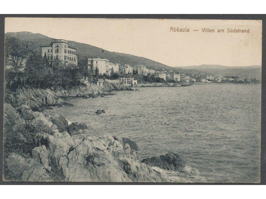 Croatia, Opatija, villas on the south beach, publ. Market & Sohn, cca 1909