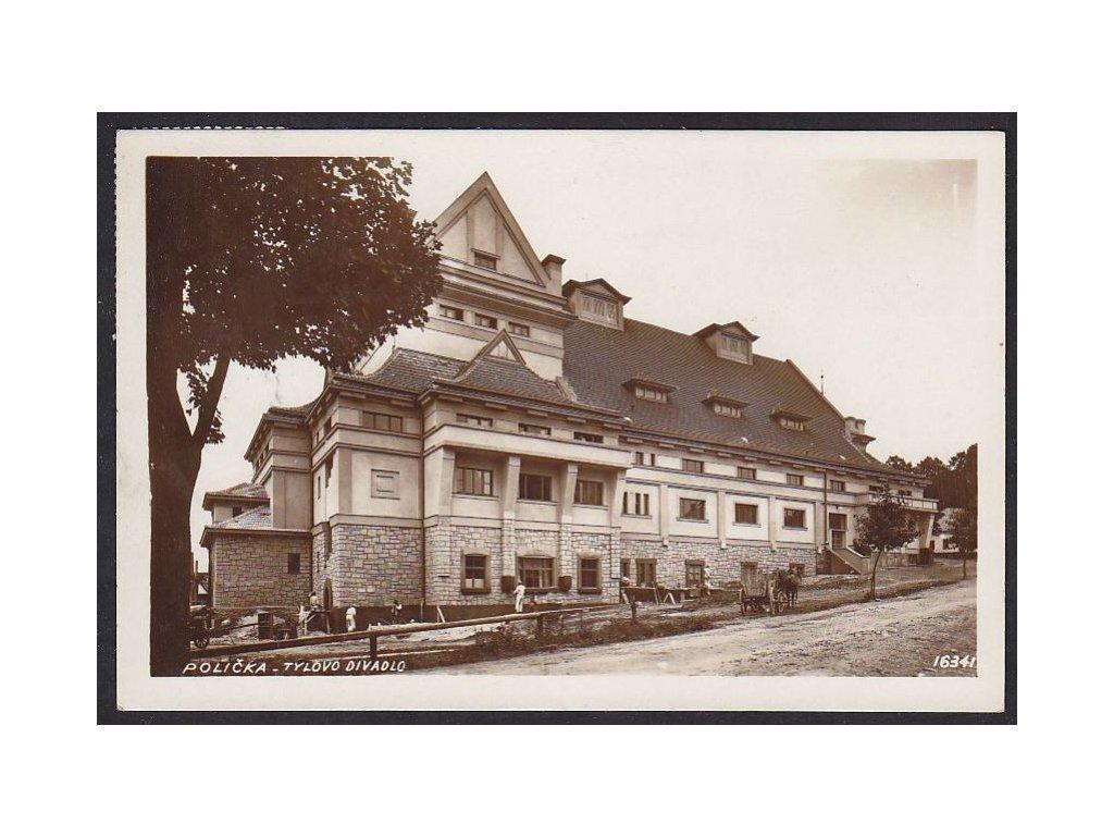 61- Svitavsko, Polička, stavba Tylova divadla, nakl.Kaňka-Kaňkovský, ca 1937