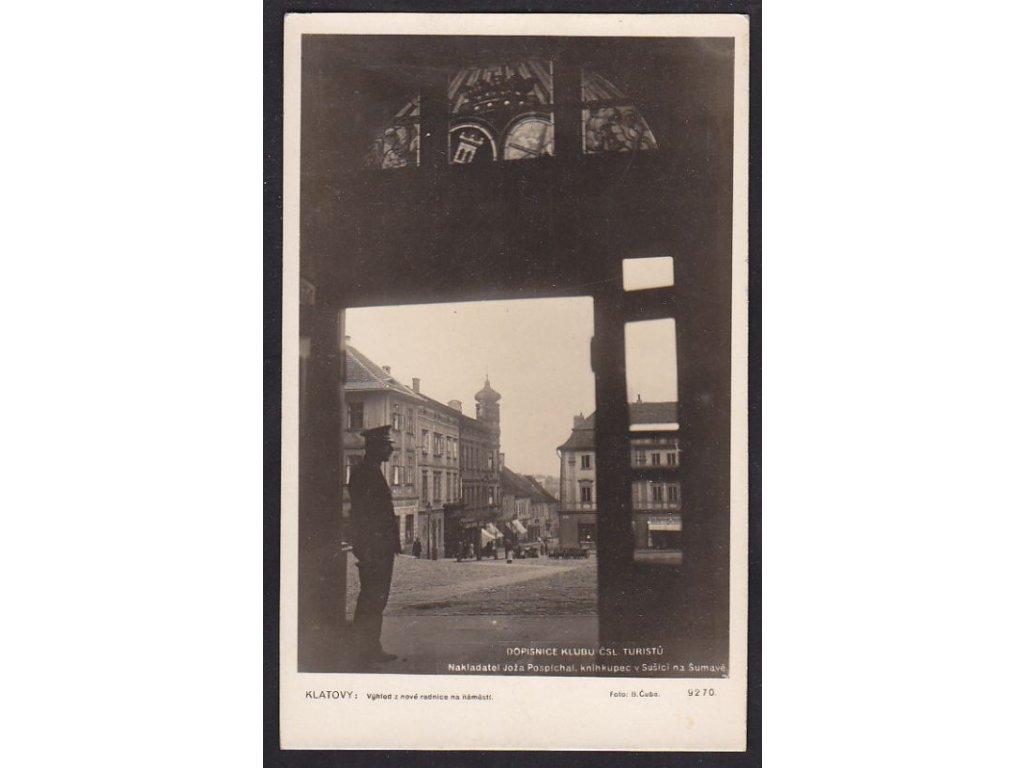 28- Klatovy, pohled z radnice na náměstí, Foto Fon, ca 1945