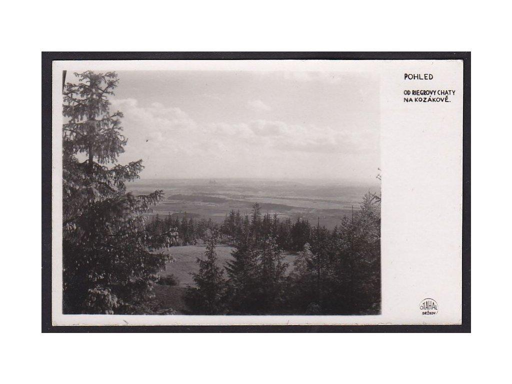 58- Semilsko, pohled od Reigrovy chaty na Kozákově, foto Otahal, ca 1930
